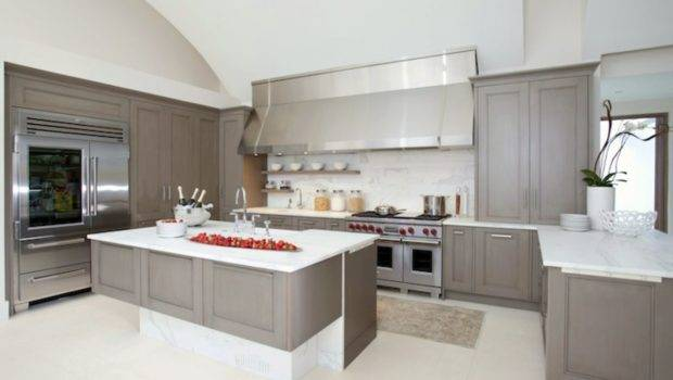White Kitchen Cabinets Grey Countertops Wall