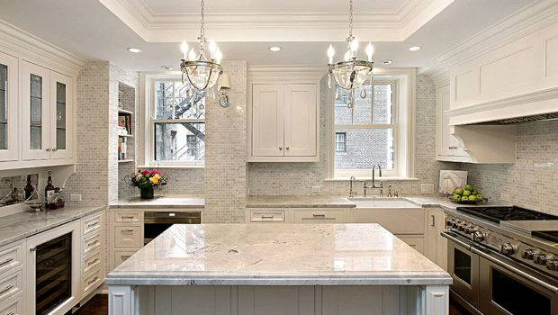 White Kitchen Calacatta Gold Backsplash Tile