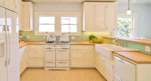 White Kitchen Green Tile Backsplash