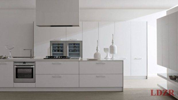 White Lacquered Modern Contemporary Kitchen Design Home