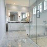 White Marble Tiled Floor Transitional Bathroom Martha Hara