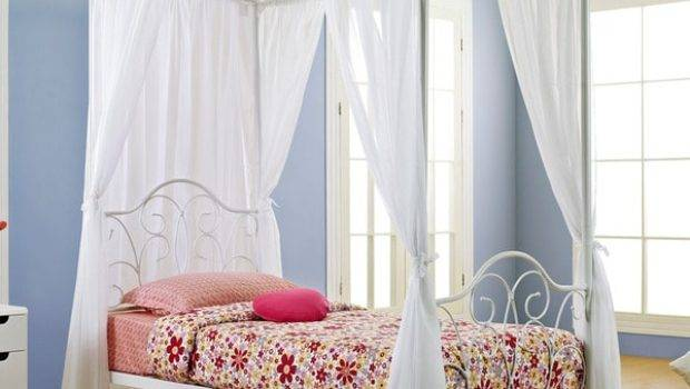 White Metal Twin Canopy Bed Curtains