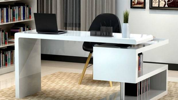 White Modern Home Office Desk Return
