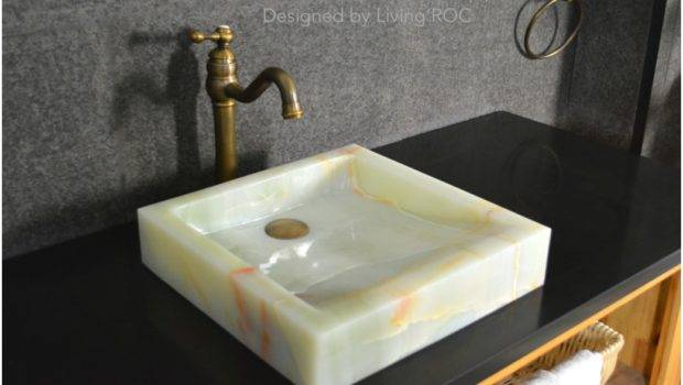 White Onyx Stone Bathroom Premium Sink Paris