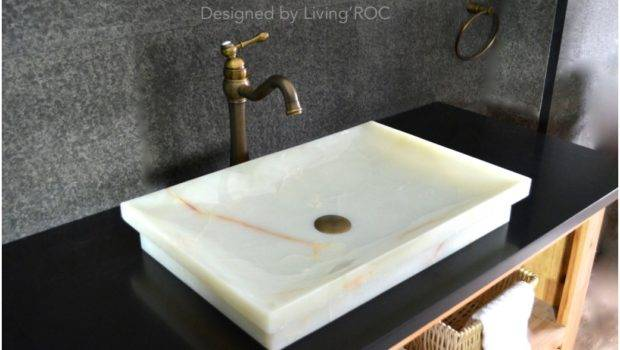 White Onyx Stone Bathroom Vessel Sink Chamonix