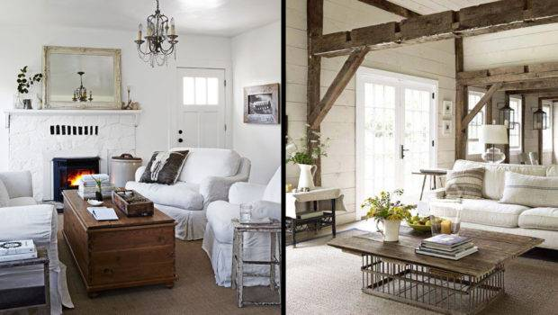 White Pottery Barn Sofas Anchor These Cozy Inviting Living Rooms