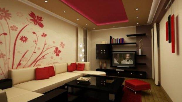 White Red Living Room Interior Decorating Ideas Sample