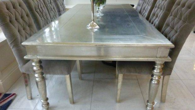 White Silver Metal Small Dining Table Tides