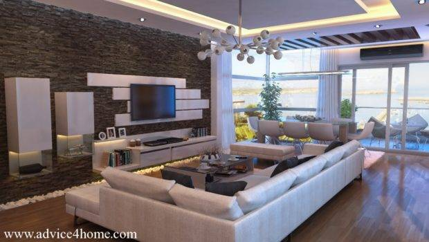 White Sofa Design Stone Wall Living Room Natural
