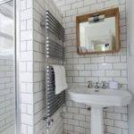 White Subway Tiled Walls Shower Accented Black Grout