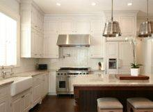 White Tile Herringbone Backsplash Set Over Stove Dresser Homes