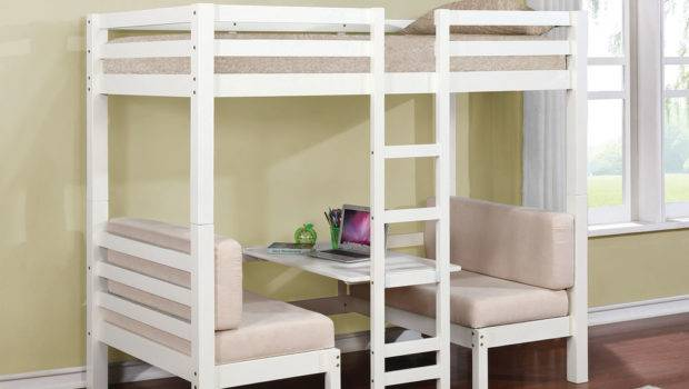 White Twin Loft Bunk Conversion Bed Play Area Bedroom