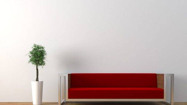 White Wall Red Sofa Wood Flooring Living Room