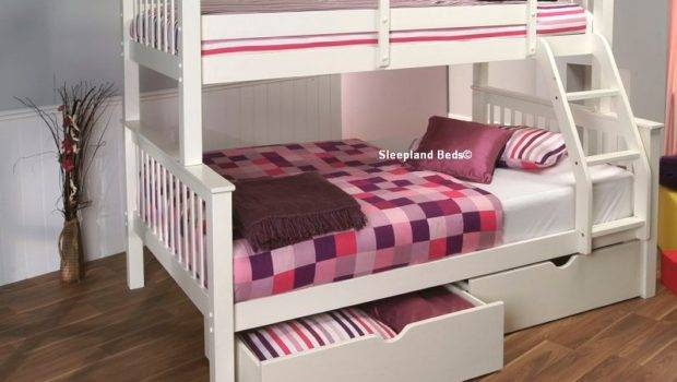 White Wooden Double Bunk Beds Single Top Small Lower