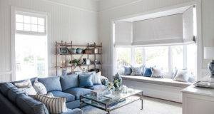 Window Dressed Gray Roman Shades Filled Built Seat