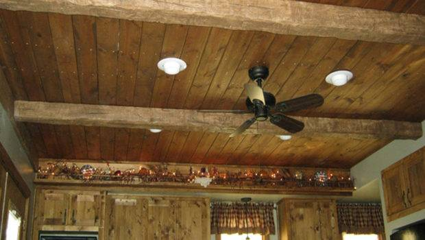 Wood Ceiling Planks Conjoined Faux Beams Create