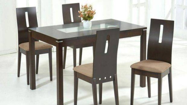 Wood Glass Dining Table Chairs
