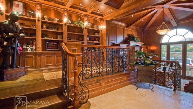 Wood Paneled Library Office Traditional Home
