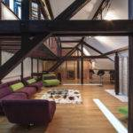Wood Structure Defines Contemporary Renovated Attic Loft Apartment