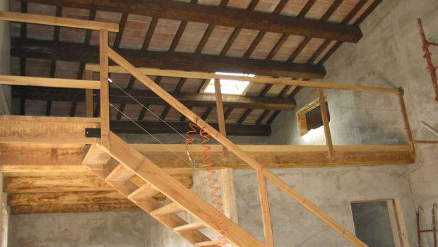 Wooden Stairs Conducing Mezzanine Floor