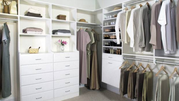Wrap Around Top Shelf White Walk Closet Angle