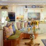 Yellow French Country Kitchen Colorful Banquette Area Hgtv