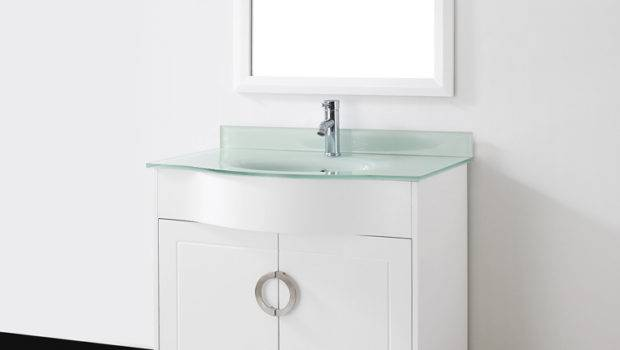 Zoe White Bathroom Vanity Glass Top